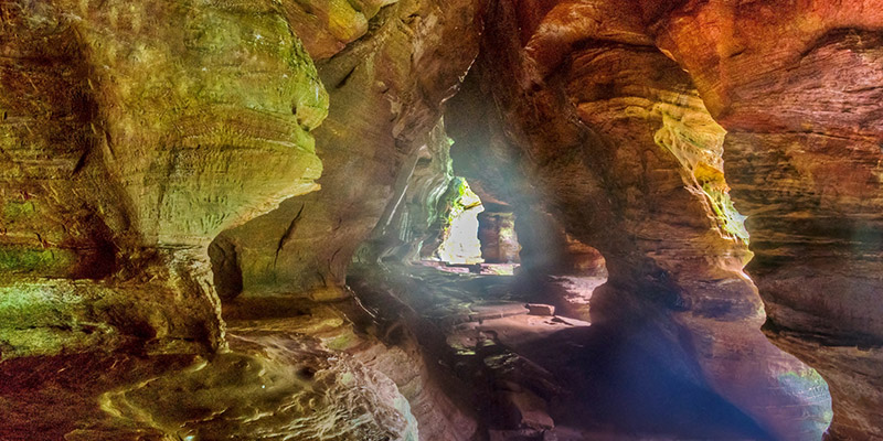The breathtaking Rock House at Hocking Hills after a rainstorm.