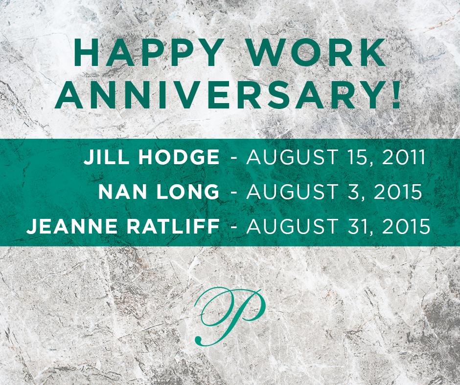August 2018 Work Anniversaries