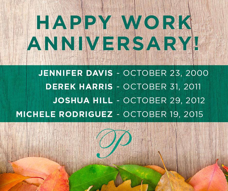 October 2018 Work Anniversaries