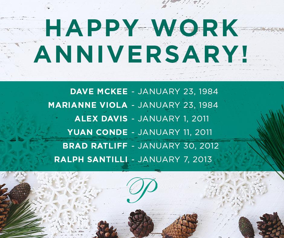 January 2019 Work Anniversaries