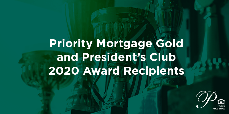 Priority Mortgage Gold and President's Club Awards title image.