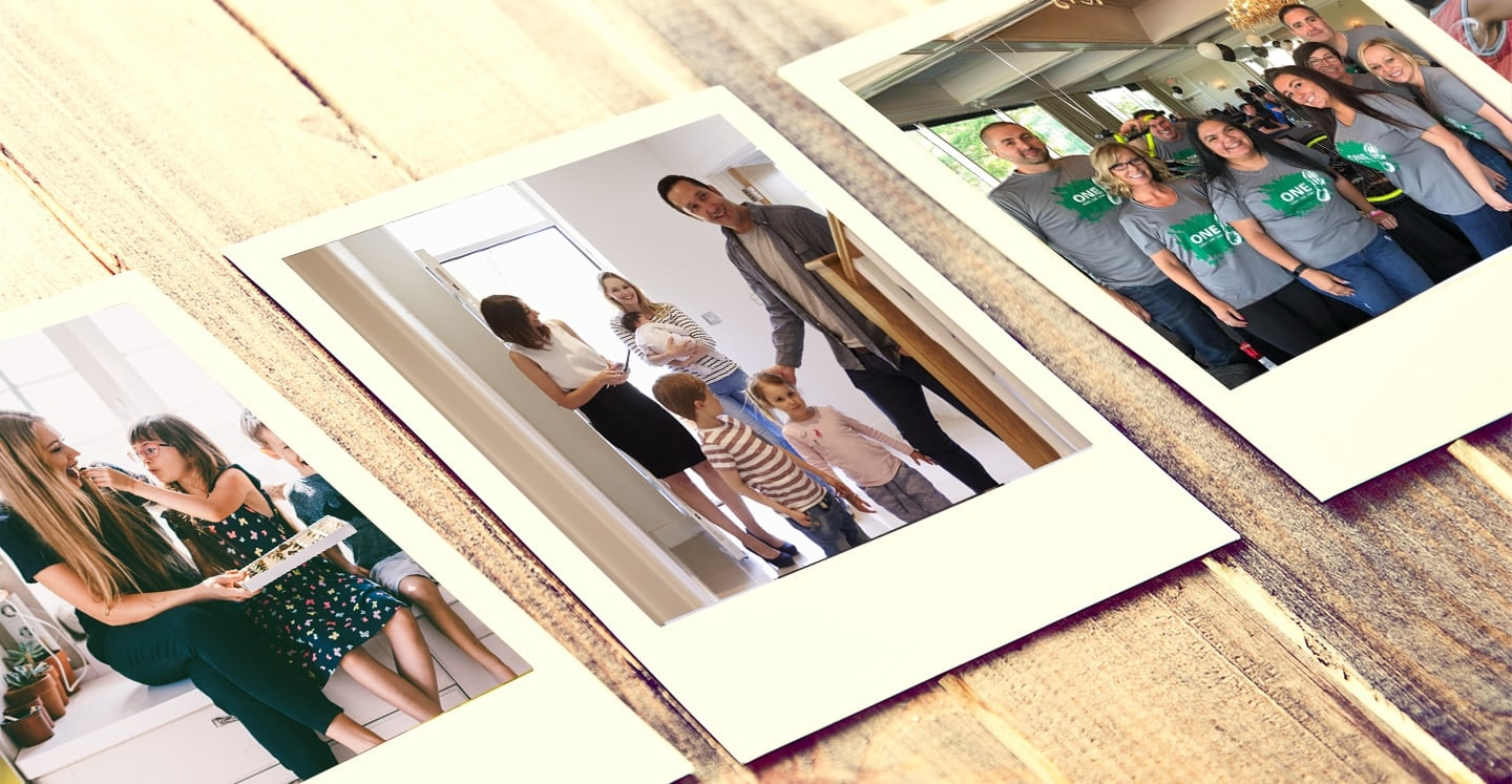 Priority Mortgage Polaroids on a wood background.